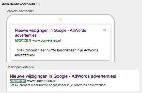 AdWords Expanded Text Ads - Conversies.nl