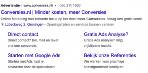 Google Ads advertentie met extensies
