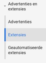 Kopje extensies in Google Ads