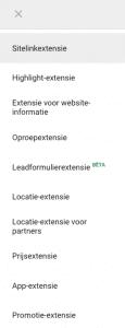 soorten extensies in Google Ads